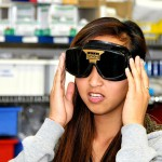 Student Wearing Vision-Altering Goggles